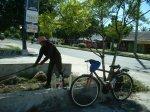 Seorang warga kota Palangka Raya sedang memilih barang-barang dari bak sampah (Foto & Dokumentasi Andriani S. Kusni, 2009)