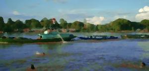 sore di sungai katingan dalam lukisan cat minyak Andriani S. Kusni, 2009